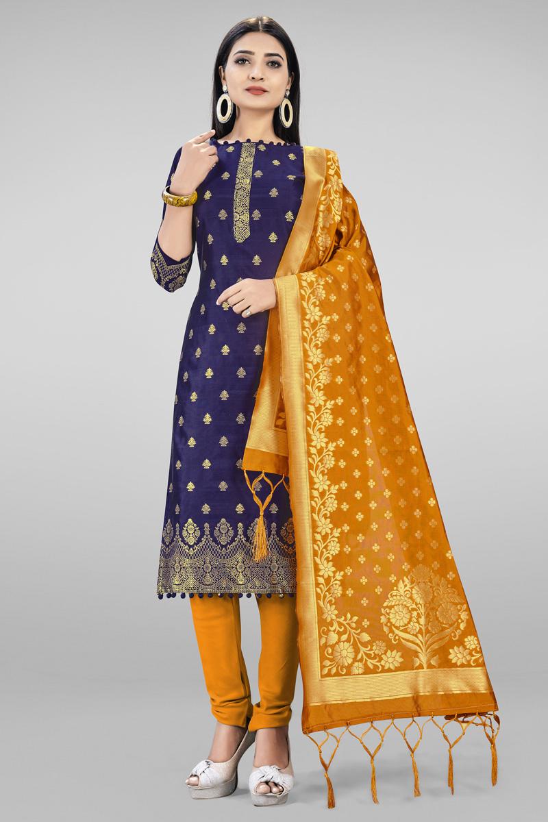 Banarasi Silk Fabric Casual Wear Fancy Weaving Work Navy Blue Color Salwar Suit