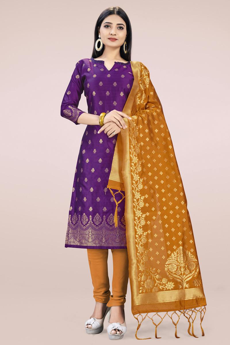 Purple Color Banarasi Silk Fabric Simple Weaving Work Daily Wear Salwar Kameez