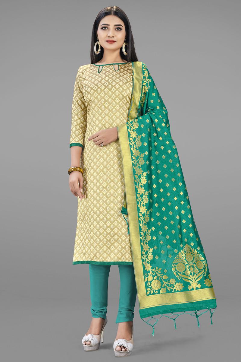 Fancy Weaving Work Daily Wear Salwar Kameez In Beige Color Banarasi Silk Fabric