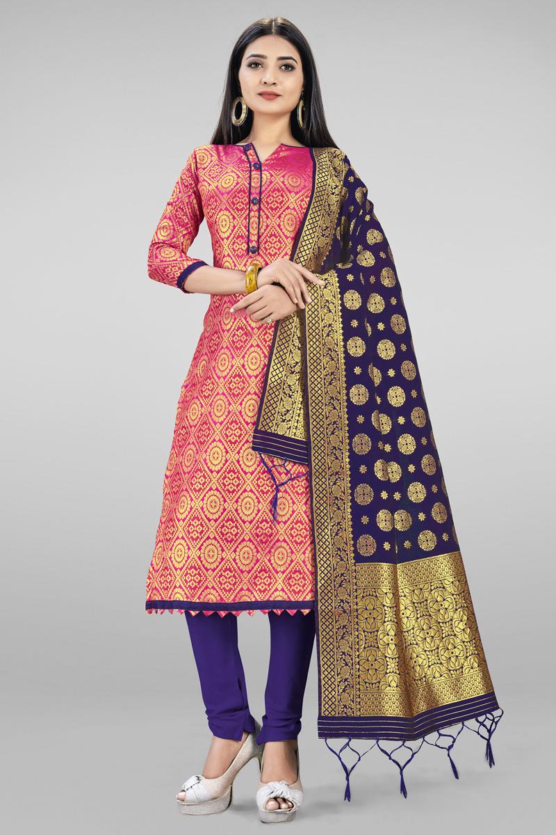 Pink Casual Wear Fancy Weaving Work Banarasi Silk Fabric Salwar Suit