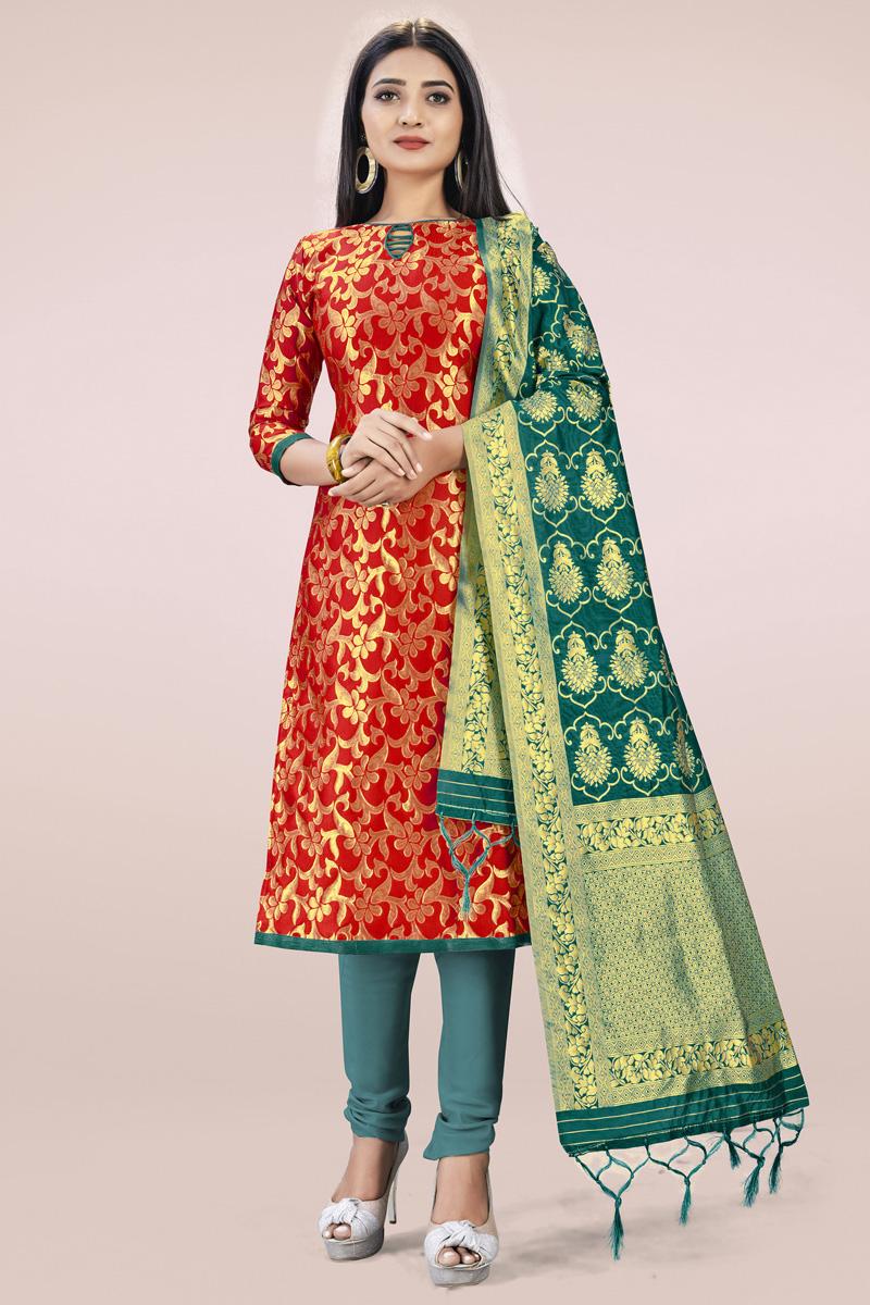 Red Casual Wear Fancy Weaving Work Banarasi Silk Fabric Salwar Kameez