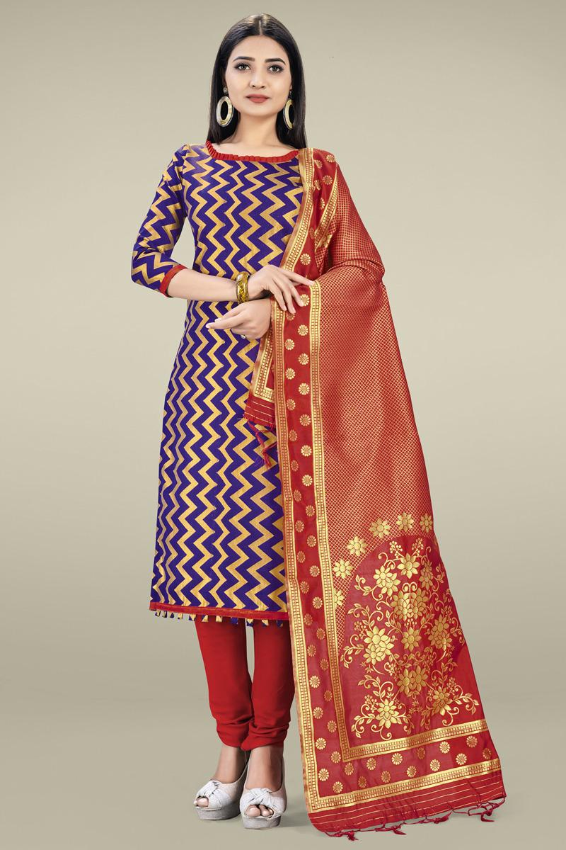 Banarasi Silk Casual Wear Navy Blue Color Fancy Weaving Work Salwar Suit