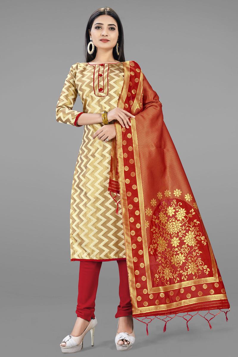 Beige Color Banarasi Silk Casual Wear Fancy Weaving Work Salwar Kameez