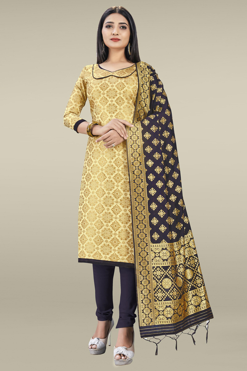 Banarasi Silk Fabric Fancy Weaving Work Salwar Kameez In Beige Color