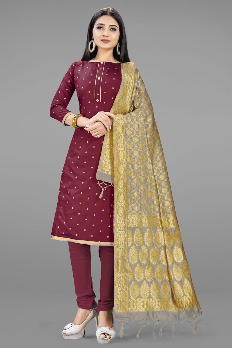 Banarasi Silk Fabric Maroon Color Fancy Weaving Work Salwar Suit