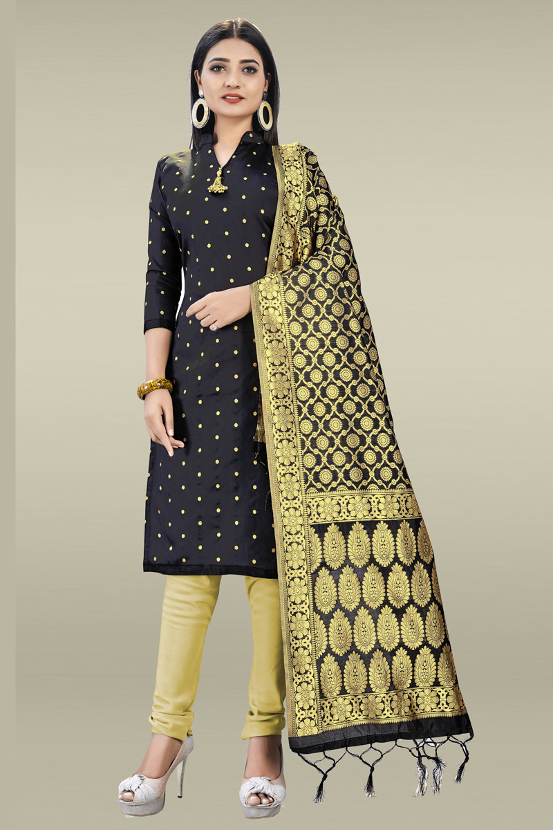 Banarasi Silk Fabric Casual Wear Weaving Work Black Color Salwar Kameez