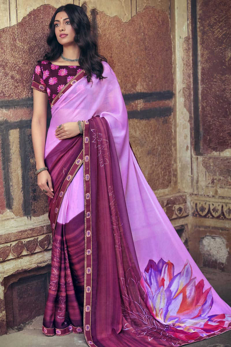 Office Wear Chiffon Fabric Printed Saree In Pink Color