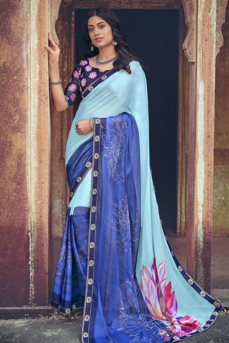 Sea Green Color Regular Wear Chiffon Fabric Printed Saree