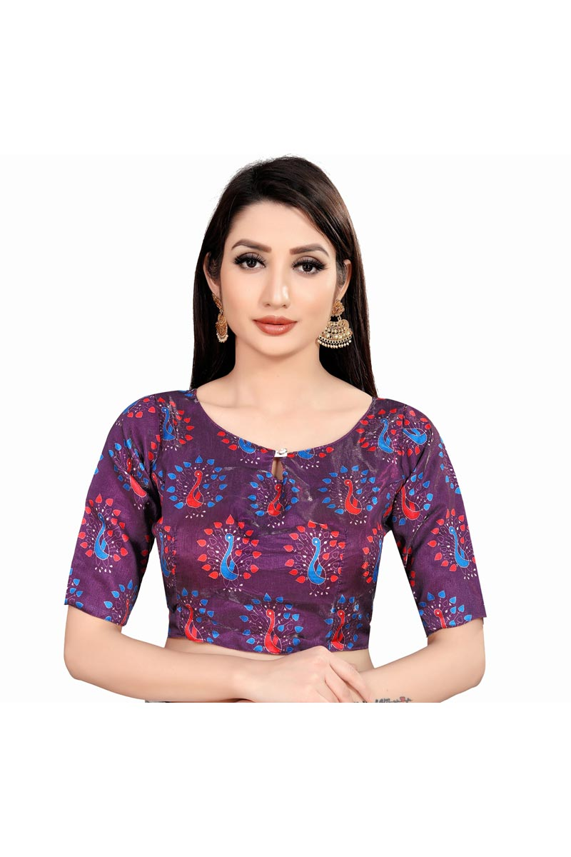 Casual Wear Art Silk Fabric Printed Purple Color Readymade Blouse