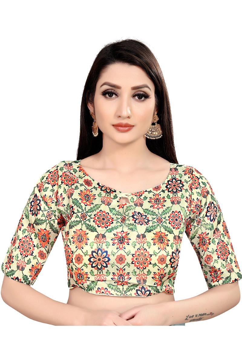Casual Wear Beige Color Printed Readymade Blouse In Art Silk Fabric