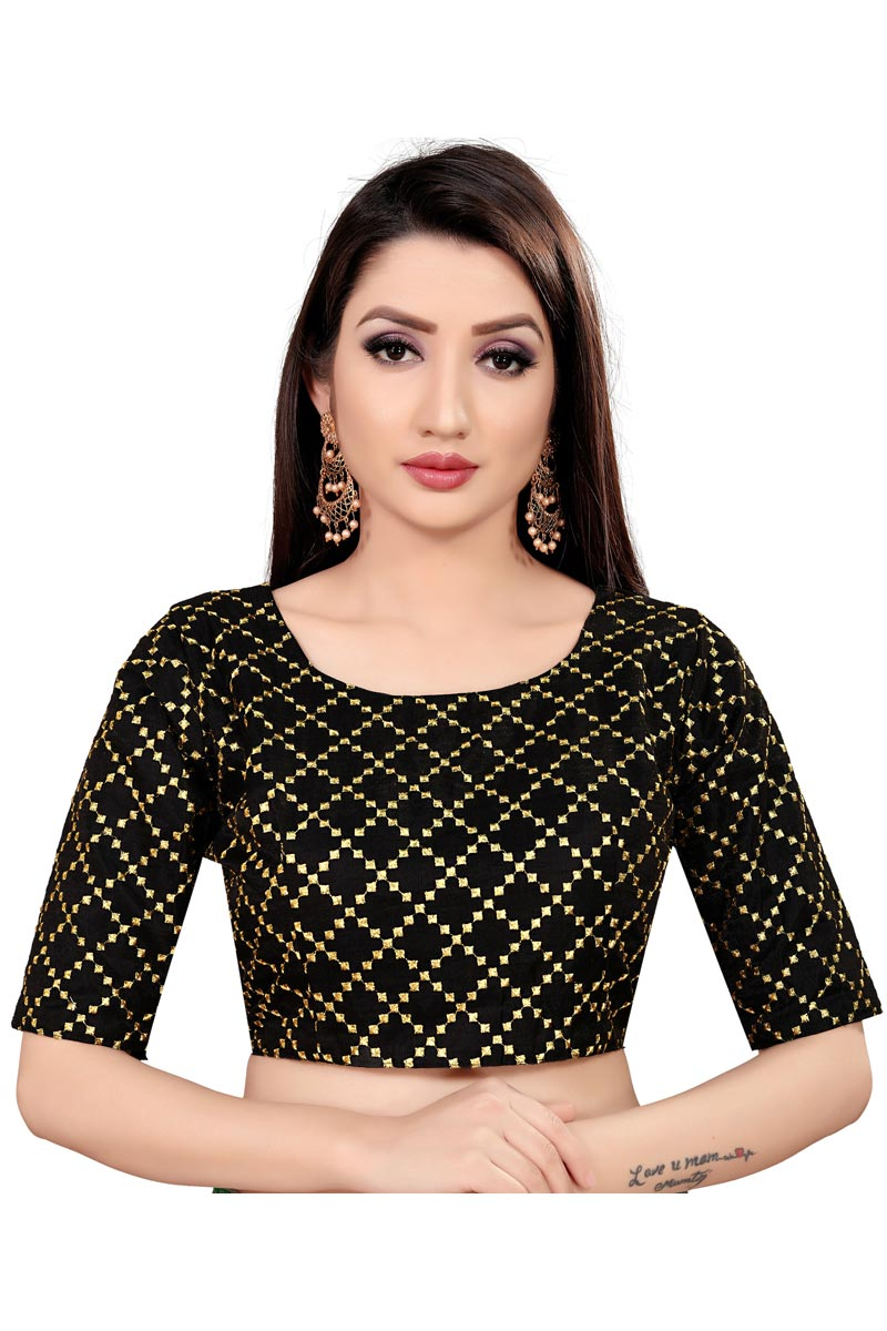 Casual Wear Black Color Printed Art Silk Fabric Readymade Blouse