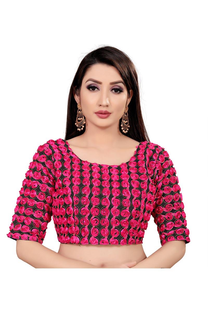 Casual Wear Art Silk Fabric Printed Readymade Rani Color Blouse