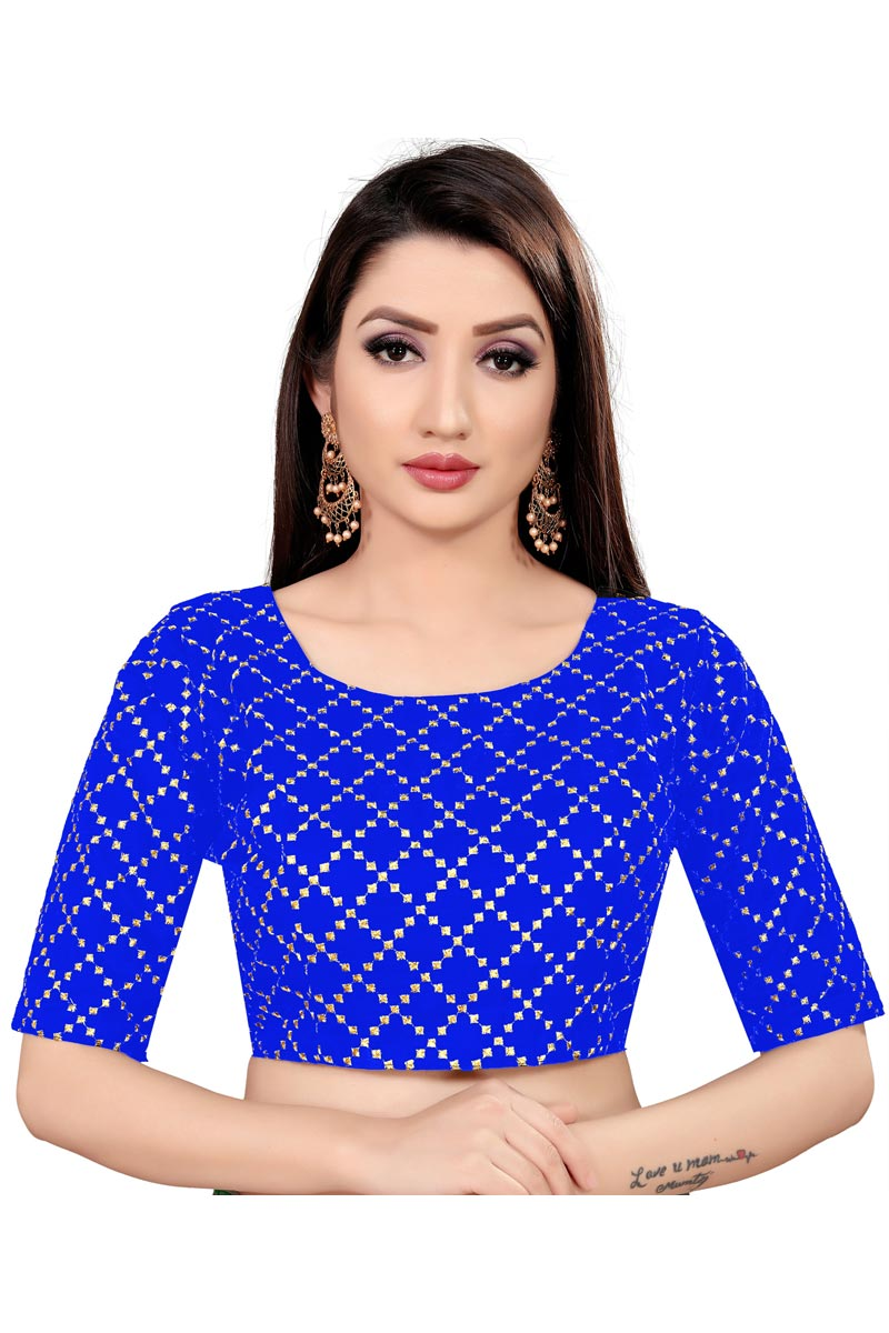 Blue Color Casual Wear Printed Readymade Blouse In Art Silk Fabric