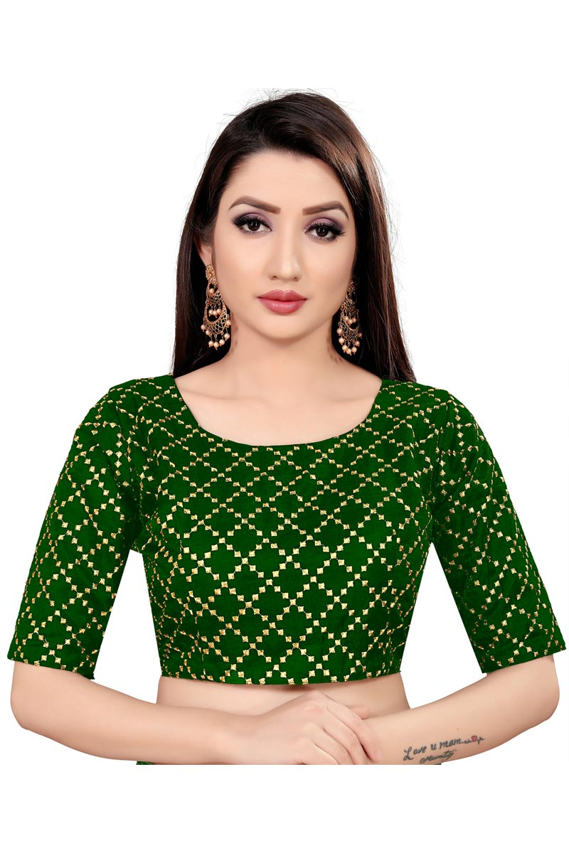 Casual Wear Art Silk Fabric Green Color Printed Readymade Blouse