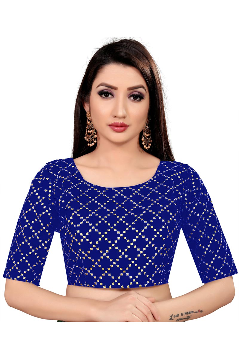 Art Silk Fabric Casual Wear Blue Color Printed Readymade Blouse