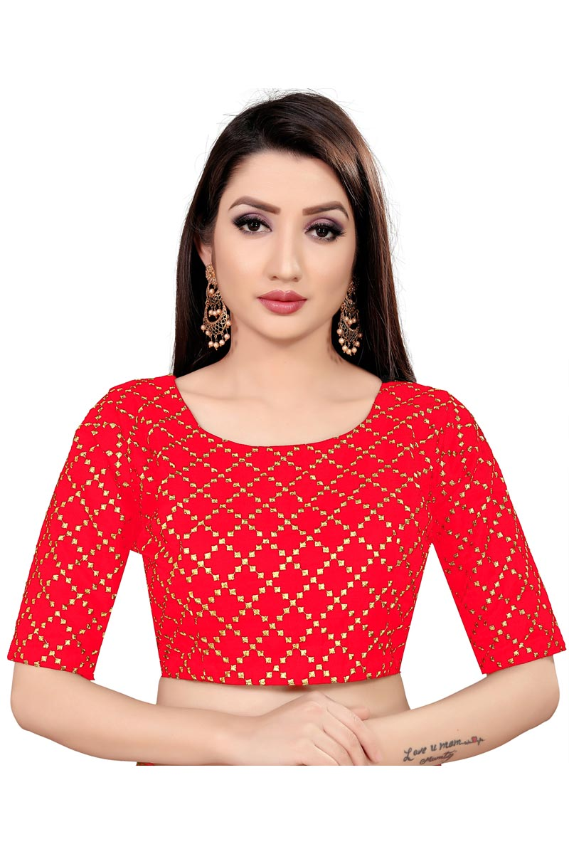 Casual Wear Art Silk Fabric Printed Readymade Blouse In Red Color