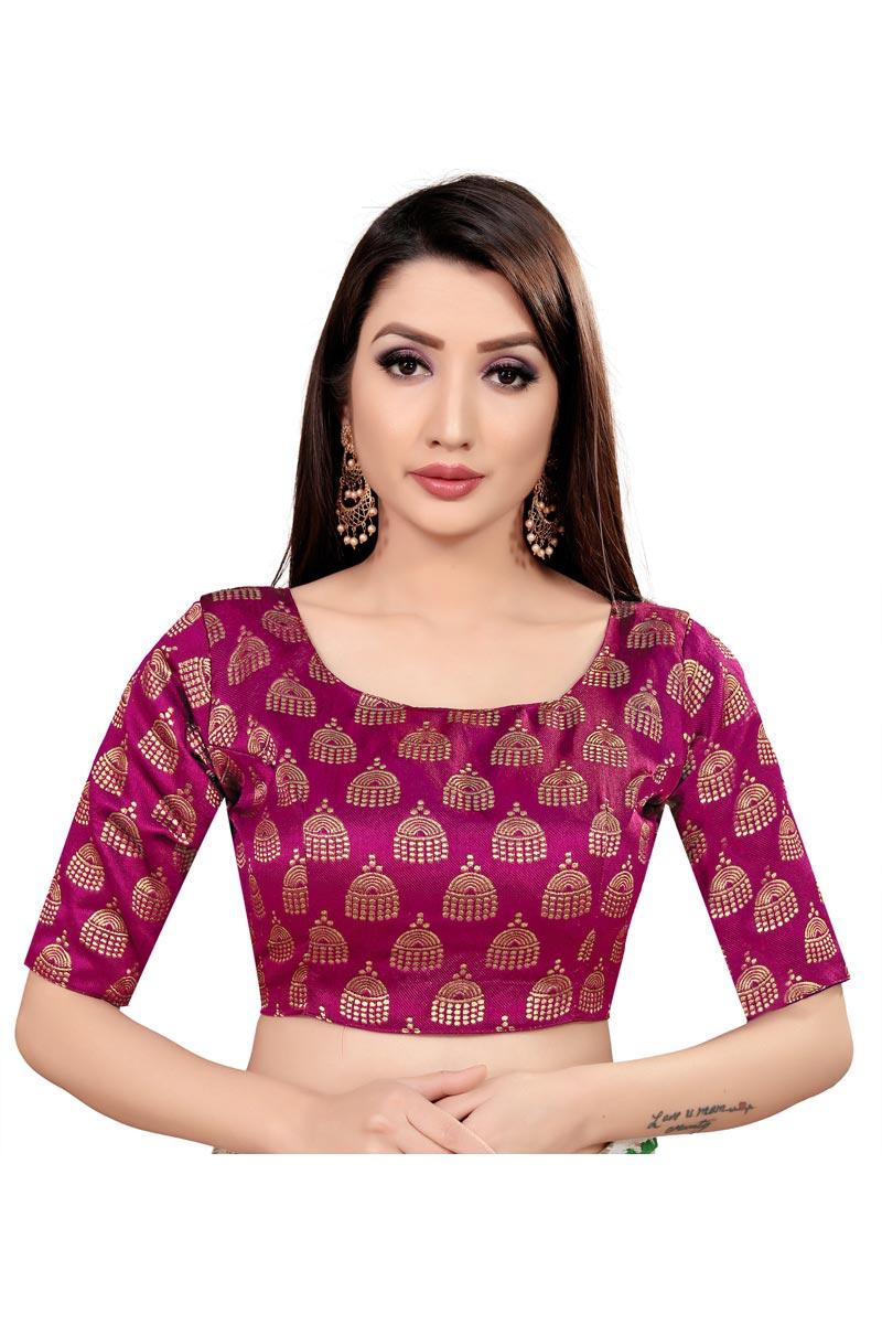 Purple Color Casual Wear Art Silk Fabric Printed Readymade Blouse