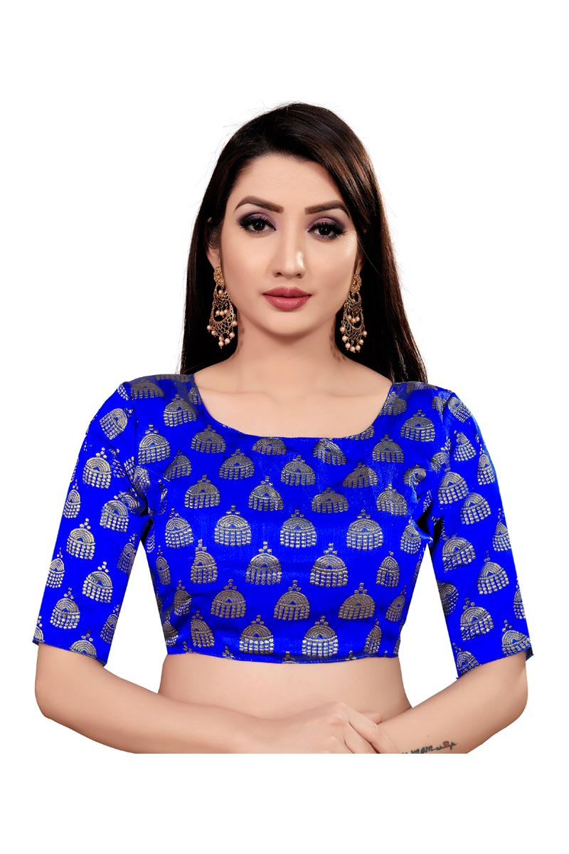 Casual Wear Blue Color Art Silk Fabric Printed Readymade Blouse