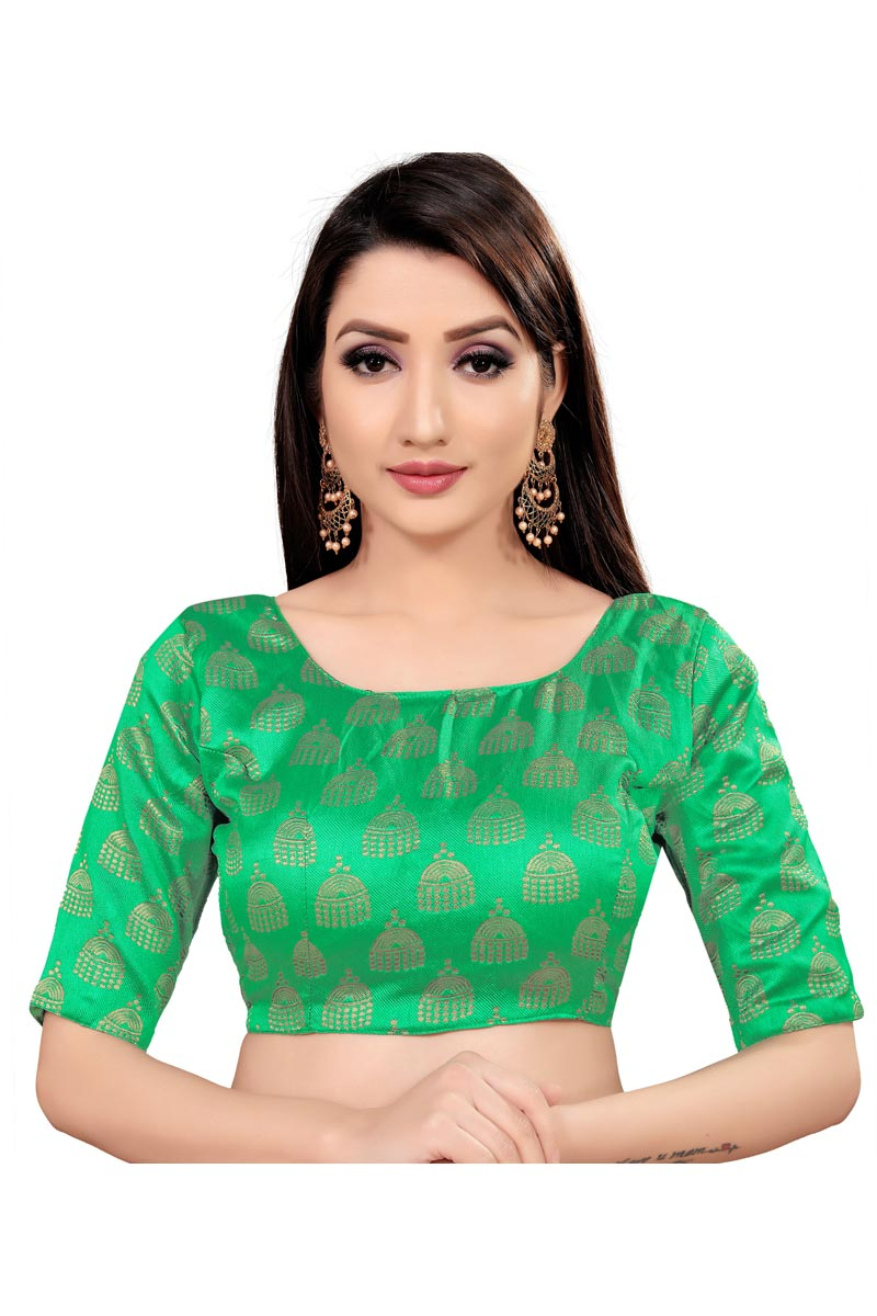 Art Silk Fabric Casual Wear Printed Readymade Blouse In Green Color