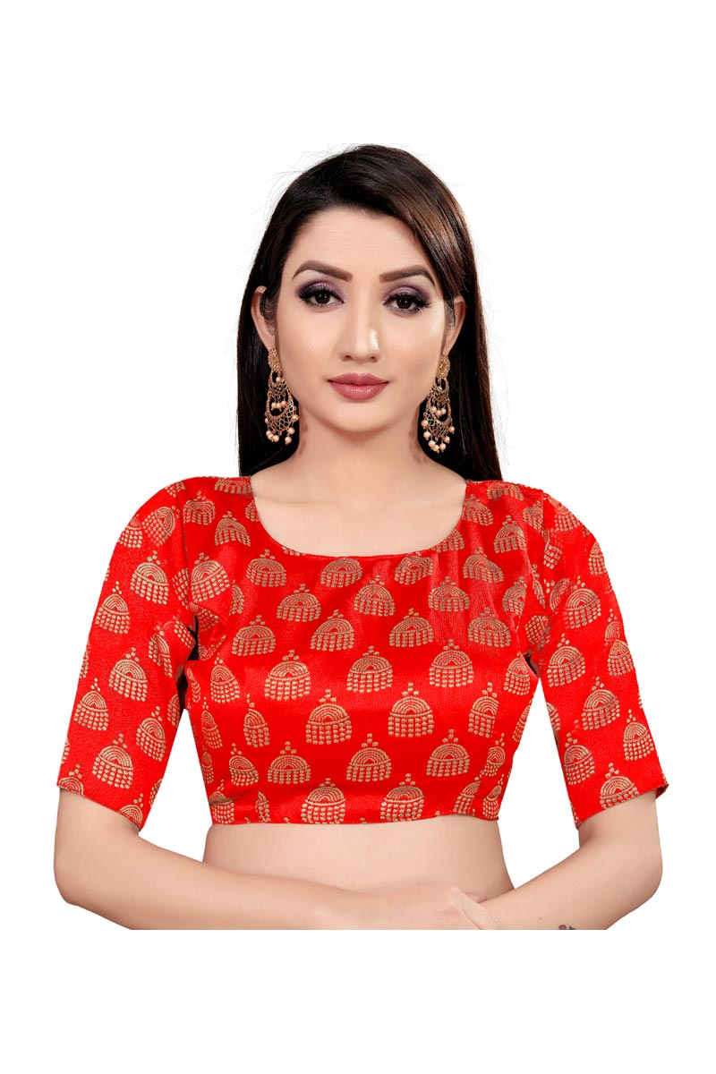 Festival Wear Art Silk Fabric Printed Red Color Readymade Blouse