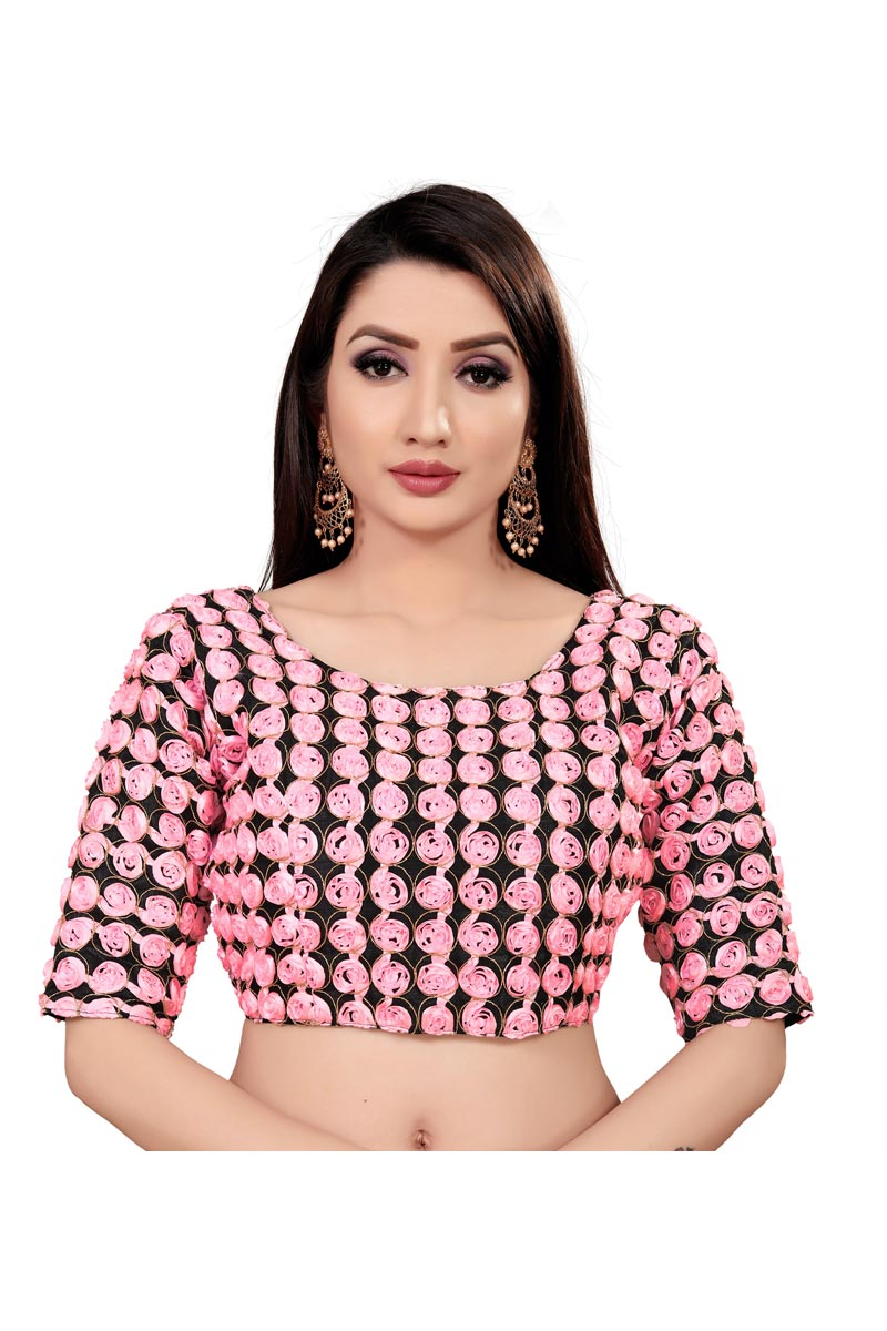 Festival Wear Pink Color Printed Readymade Blouse In Art Silk Fabric
