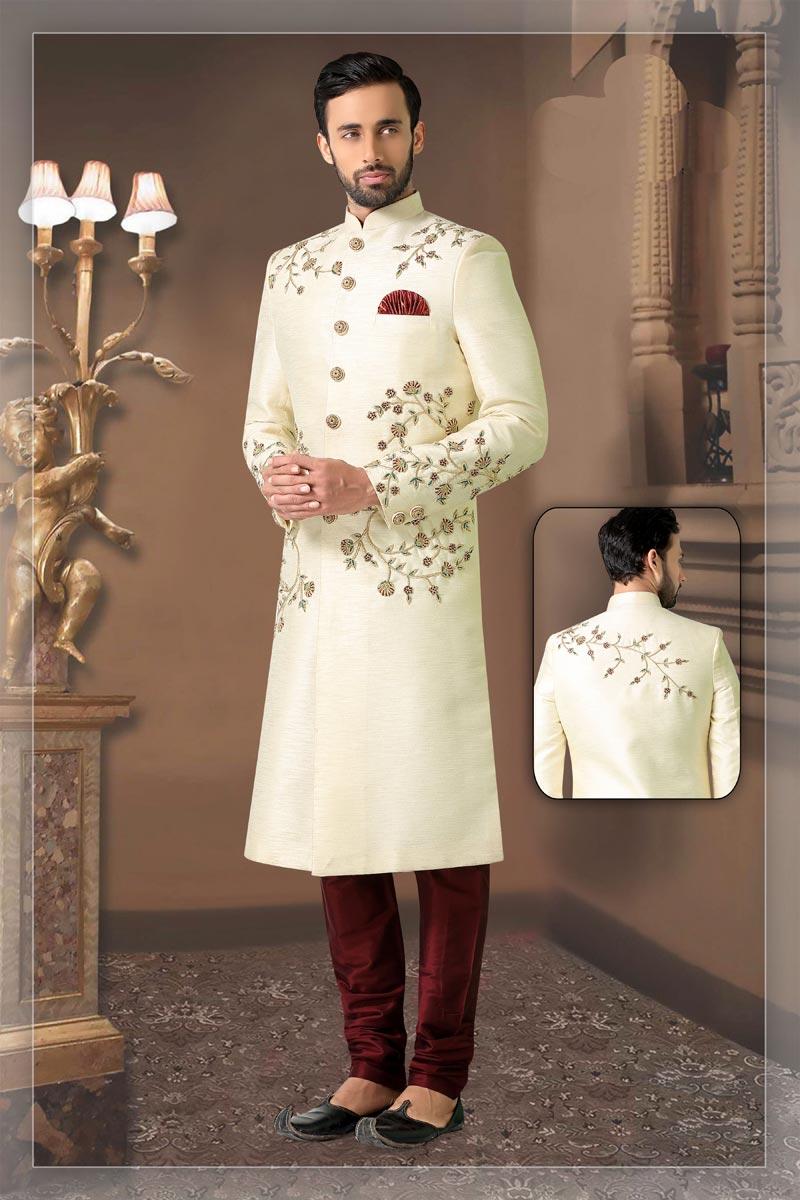 Beige Color Silk Fabric Wedding Wear Readymade Designer Sherwani For Men