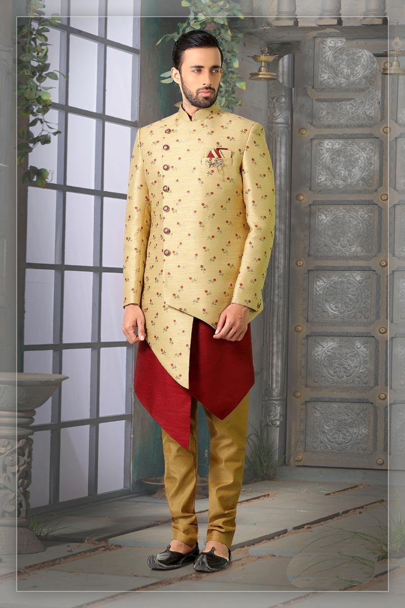 Beige Color Jacquard Fabric Function Wear Readymade Designer Indo Western For Men