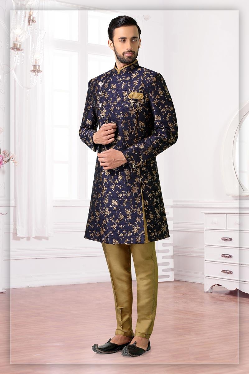 Navy Blue Color Jacquard Fabric Sangeet Wear Readymade Designer Indo Western For Men