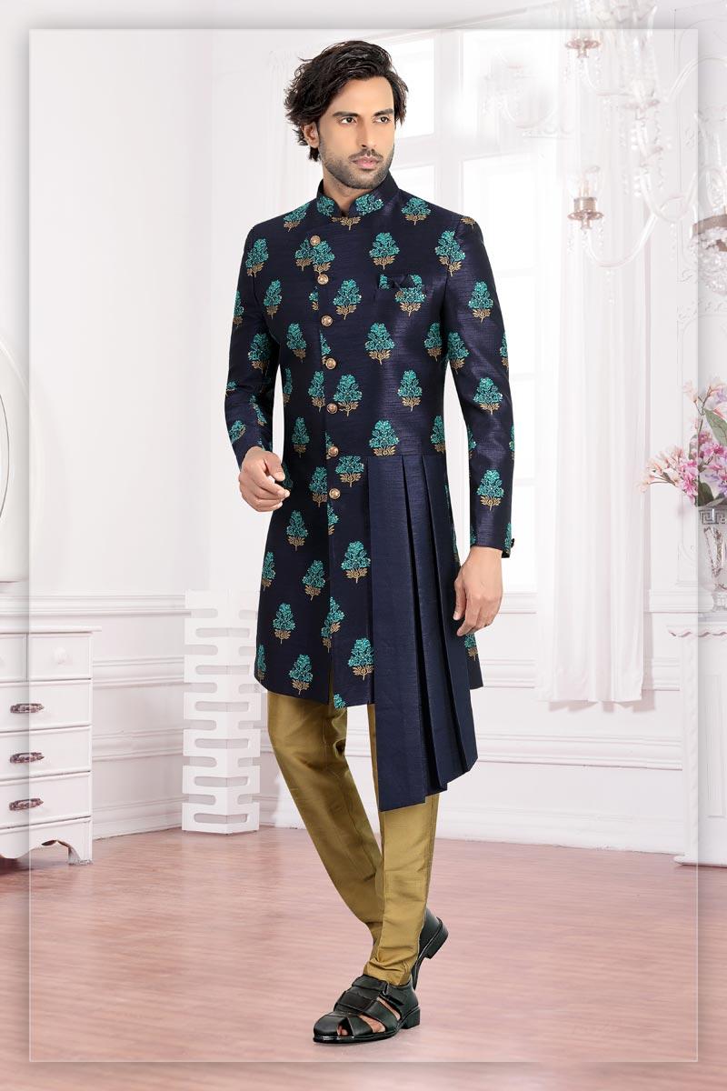 Navy Blue Color Brocade Fabric Reception Readymade Designer Indo Western For Men