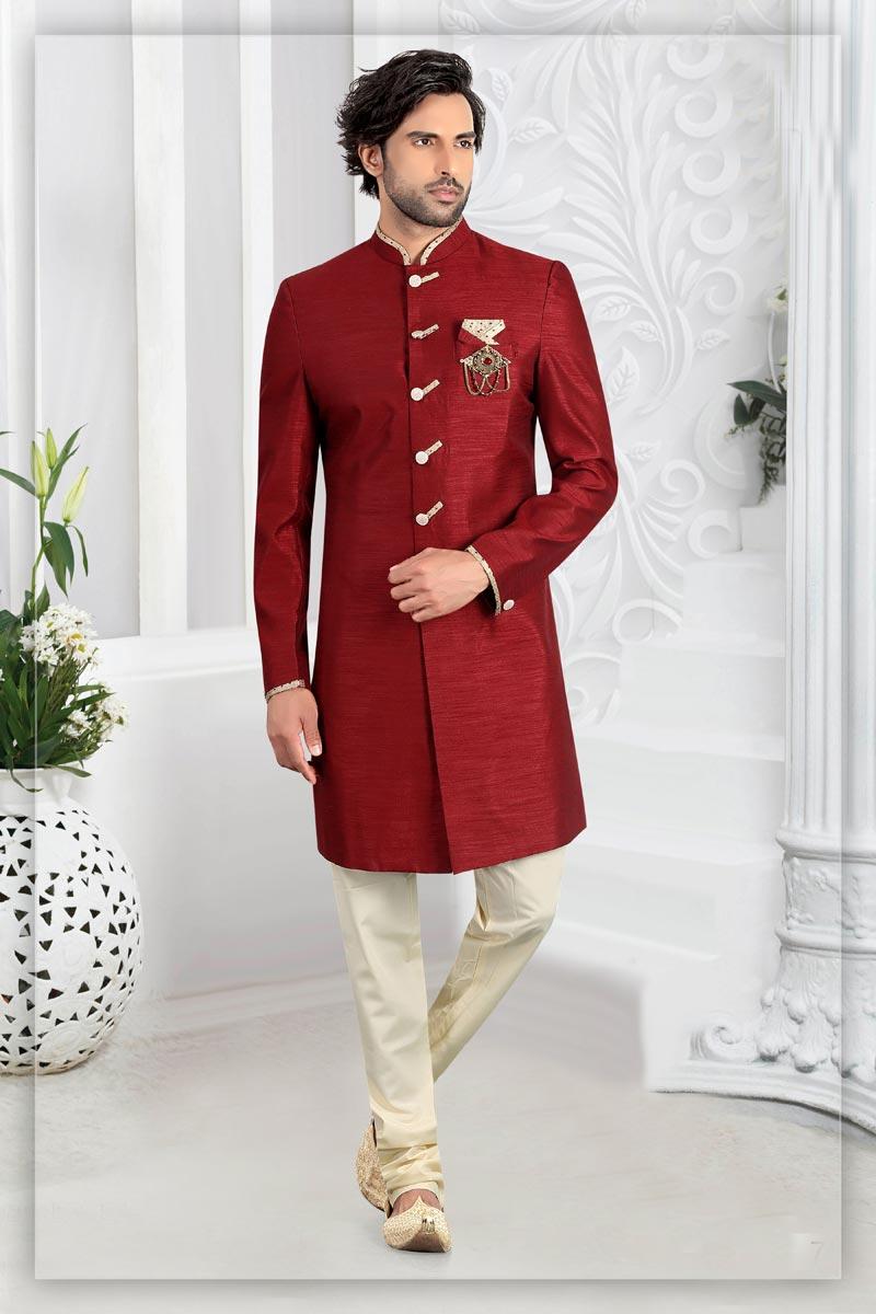 Maroon Color Silk Fabric Function Wear Readymade Designer Indo Western For Men