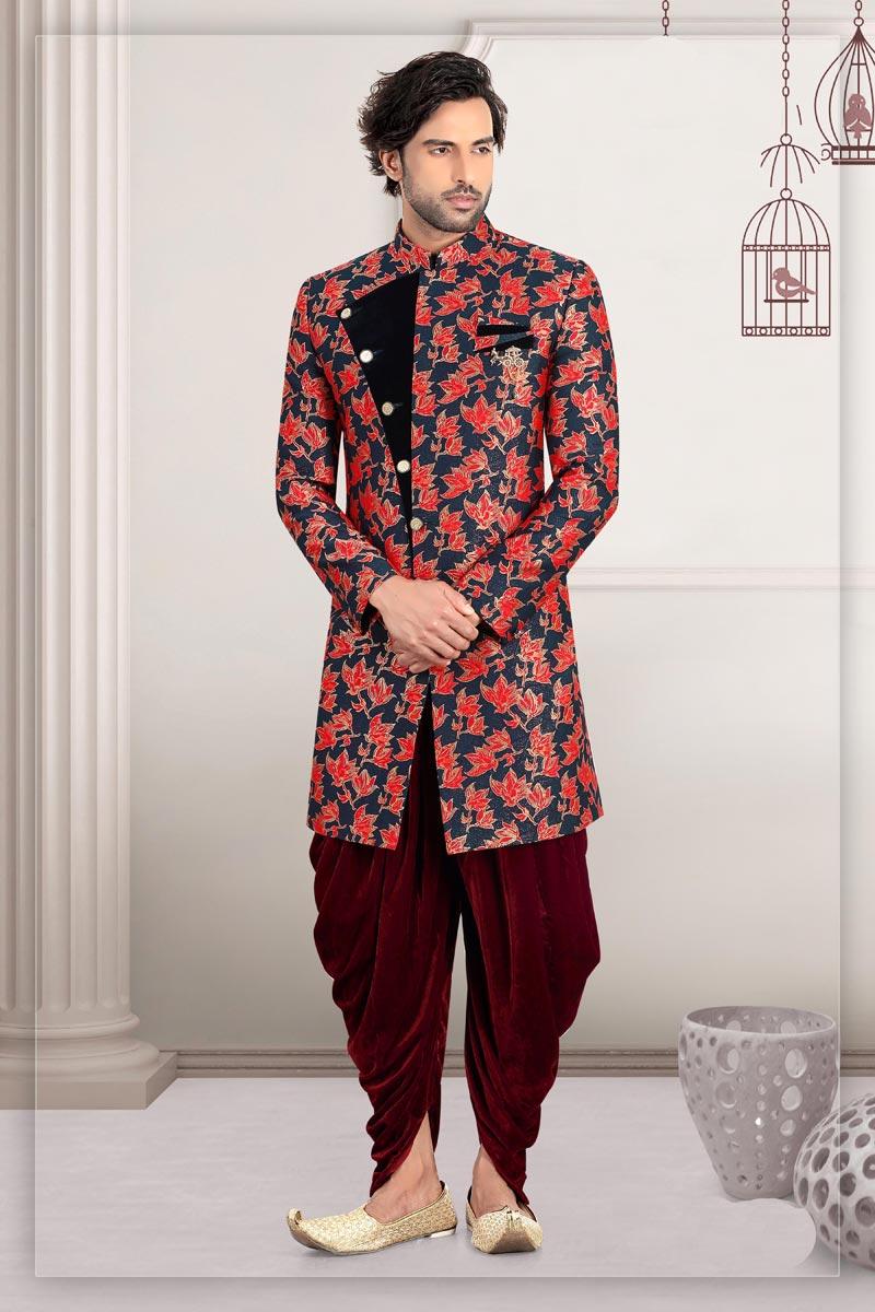 Navy Blue Color Banarasi Fabric Wedding Wear Readymade Designer Indo Western For Men