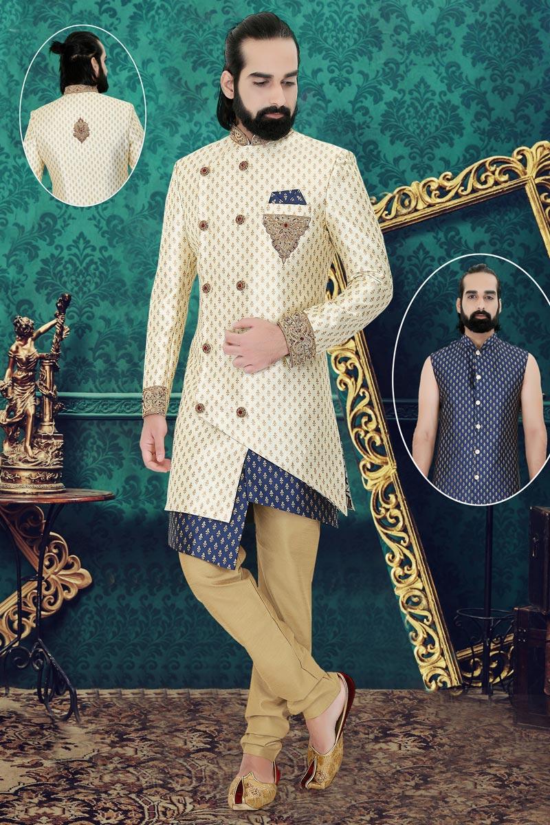 Beige Color Brocade Fabric Reception Readymade Designer Indo Western For Men