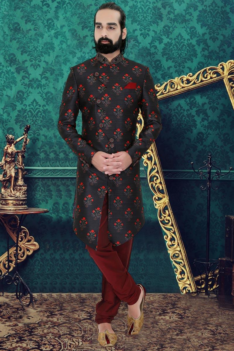 Black Color Silk Fabric Function Wear Readymade Designer Indo Western For Men