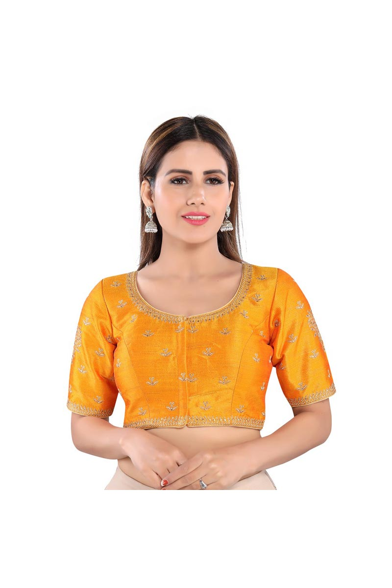 Party Wear Mustard Color Readymade Blouse In Art Silk Fabric