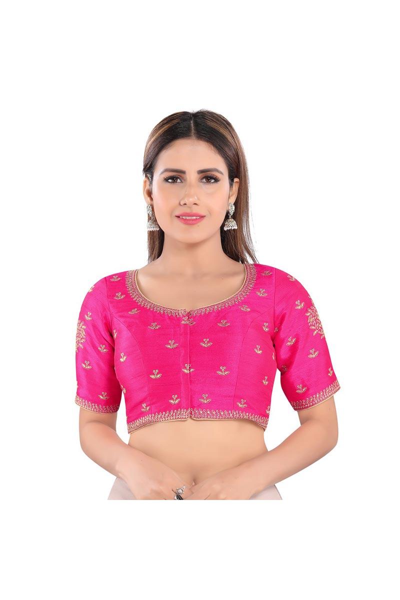 Rani Color Party Wear Art Silk Fabric Readymade Blouse