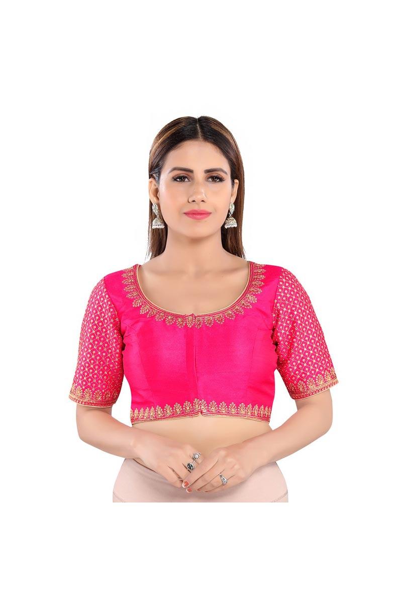 Party Wear Art Silk Fabric Rani Color Readymade Blouse