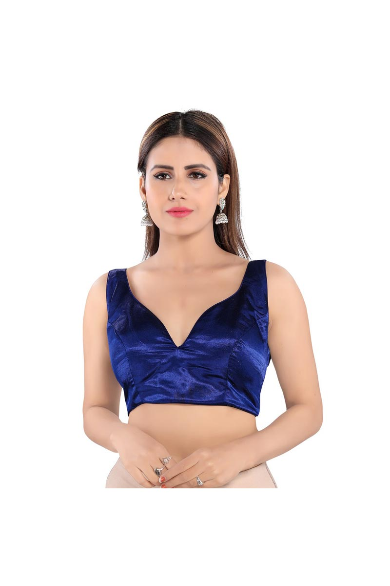 Party Wear Art Silk Fabric Readymade Blouse In Navy Blue Color