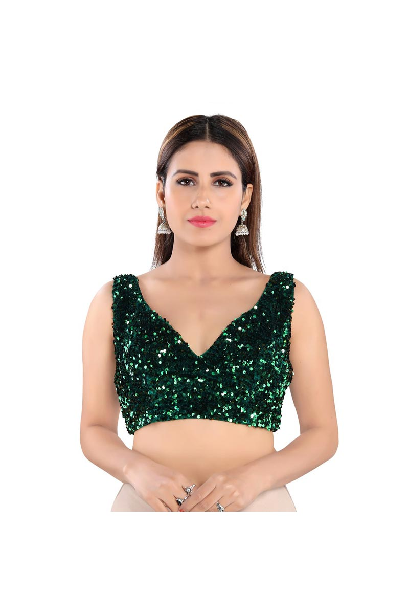 Green Color Party Wear Velvet Fabric Readymade Blouse