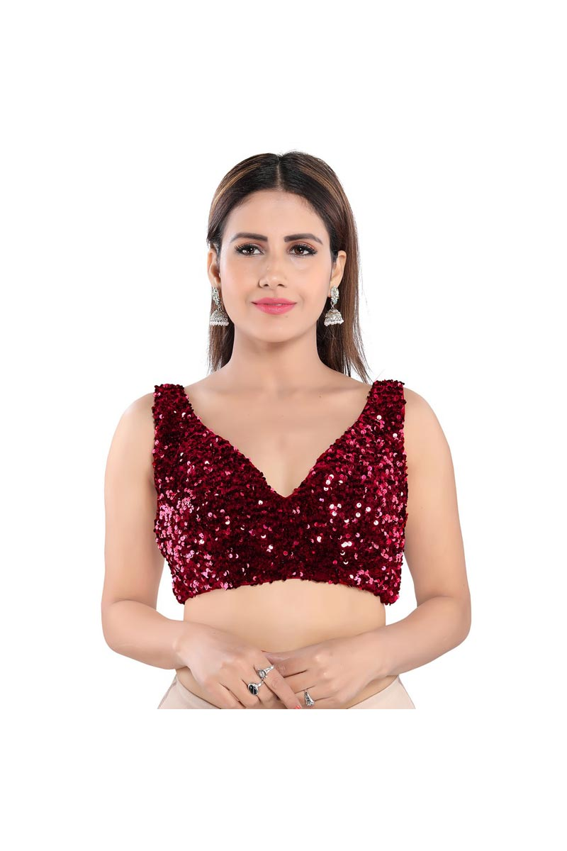 Party Wear Red Color Velvet Fabric Readymade Blouse