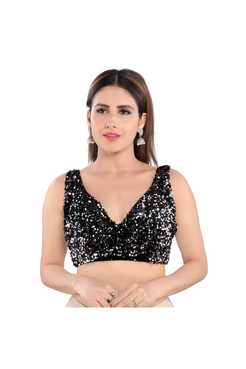 Party Wear Black Color Velvet Fabric Readymade Blouse