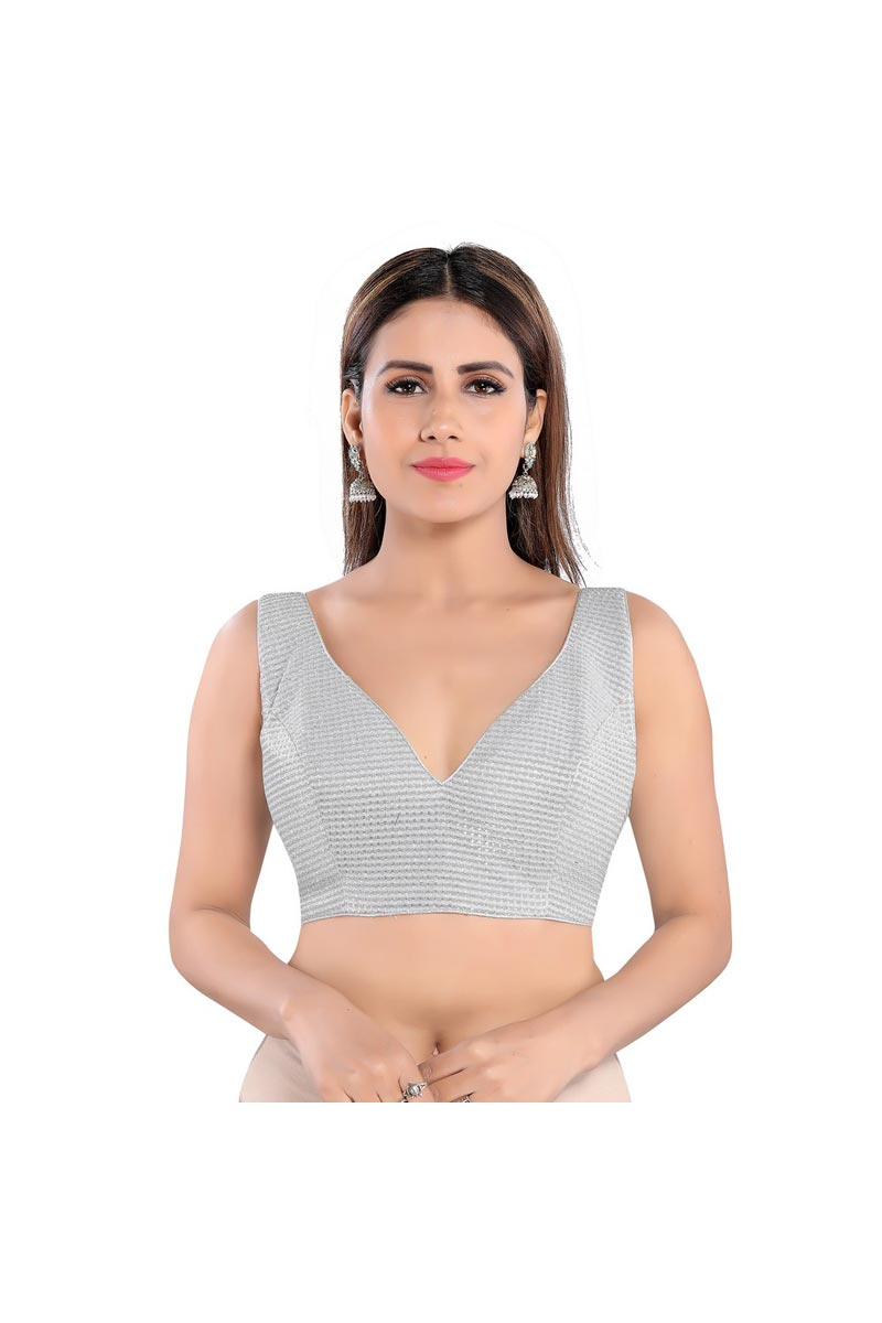 Party Wear Grey Color Readymade Blouse In Fancy Fabric