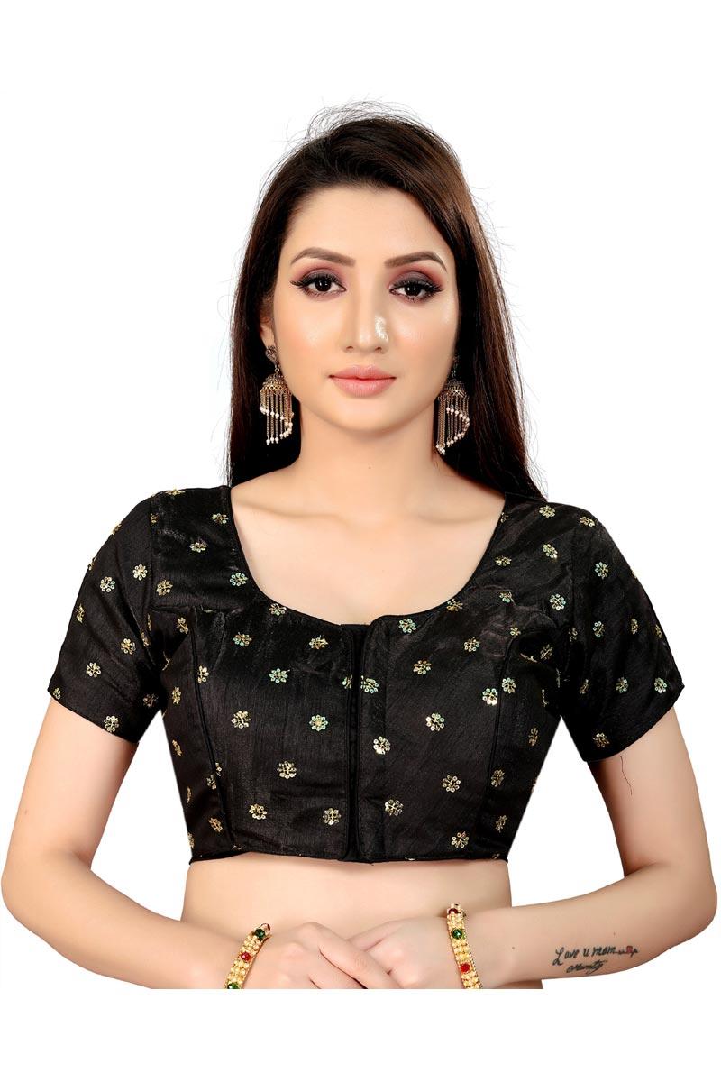 Festive Wear Black Color Fancy Art Silk Fabric Readymade Blouse