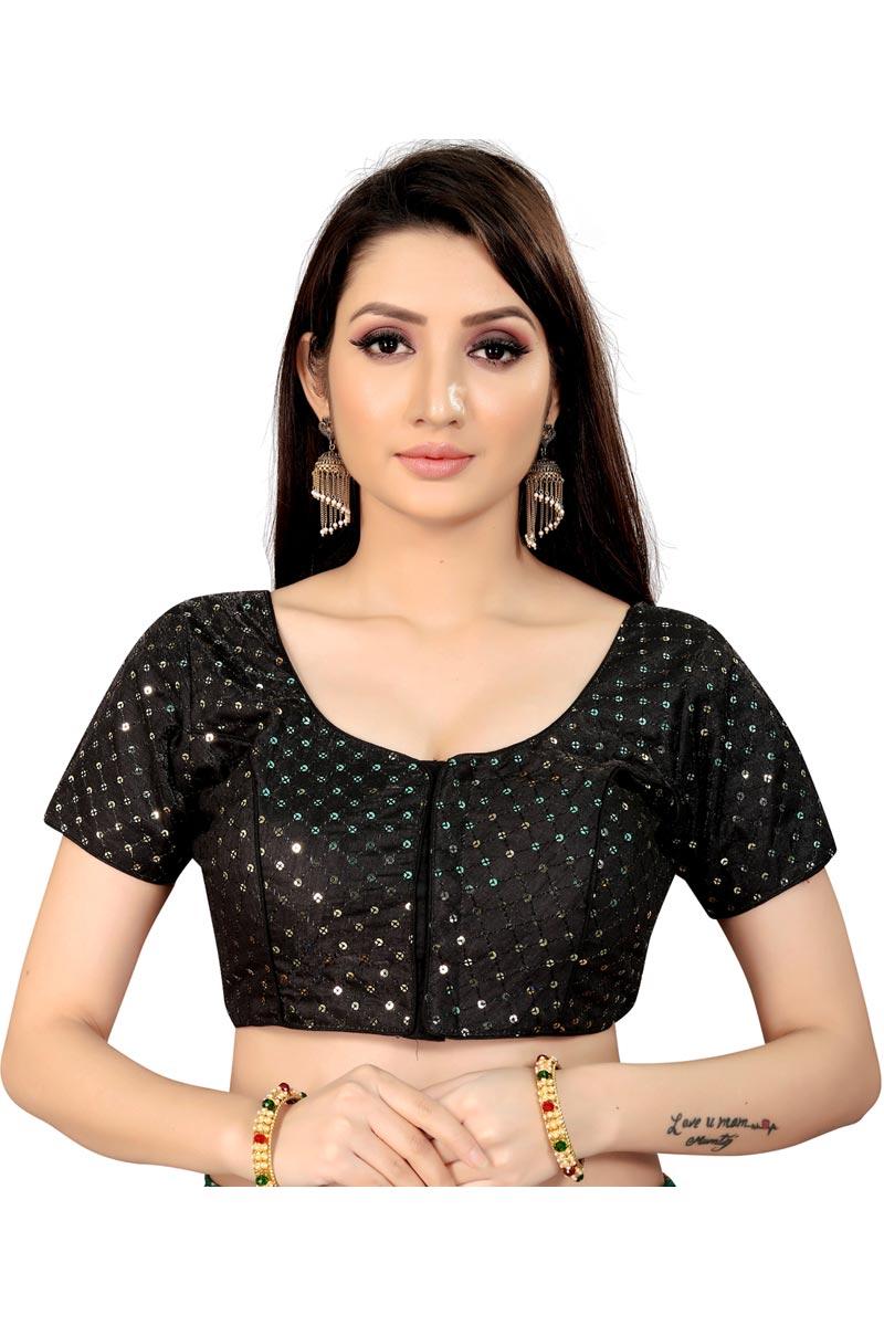 Festive Wear Art Silk Fabric Fancy Black Color Readymade Blouse