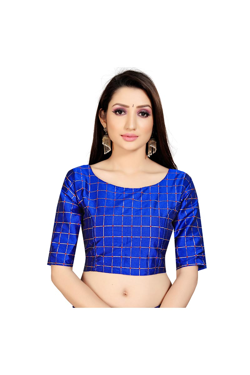 Fancy Festive Wear Blue Color Readymade Blouse In Art Silk Fabric