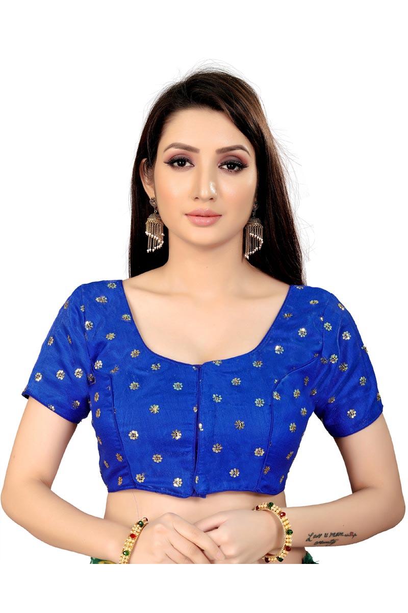 Festive Wear Fancy Blue Color Art Silk Fabric Readymade Blouse
