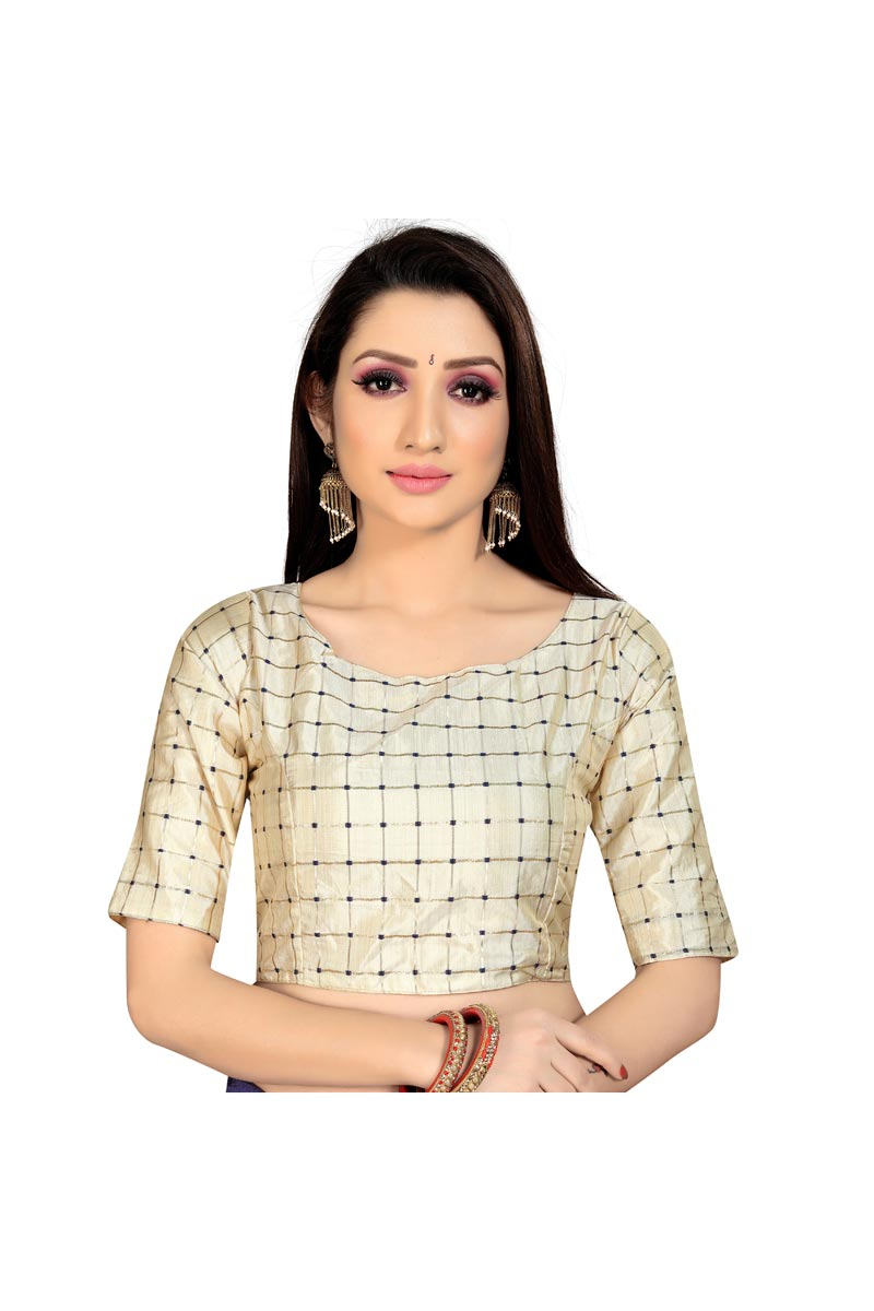 Fancy Beige Color Festive Wear Readymade Blouse In Art Silk Fabric