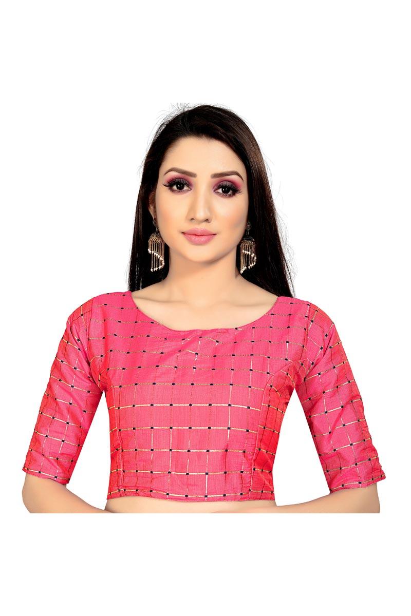 Fancy Festive Wear Pink Color Art Silk Fabric Readymade Blouse