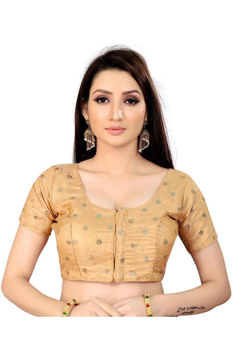 Fancy Festive Wear Art Silk Fabric Readymade Blouse In Beige Color