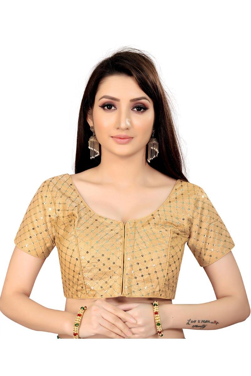 Festive Wear Fancy Art Silk Fabric Beige Color Readymade Blouse