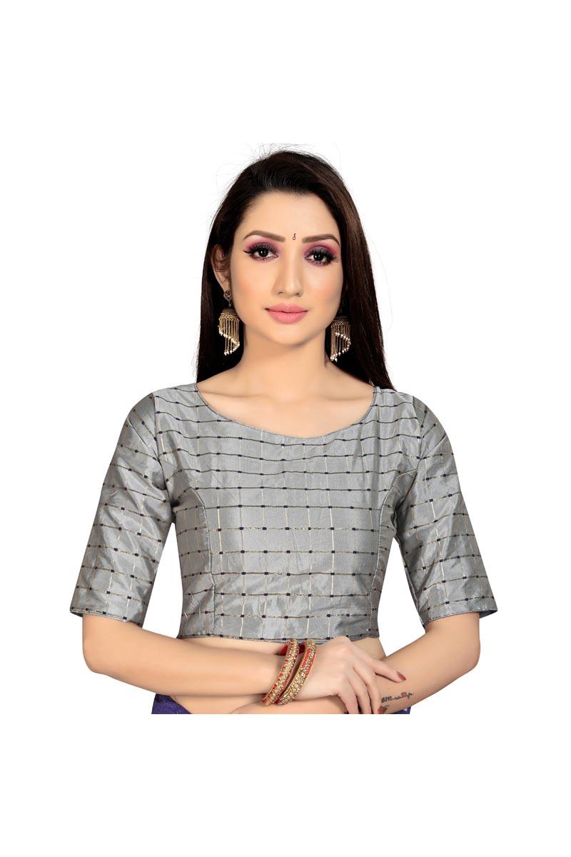 Fancy Art Silk Fabric Festive Wear Readymade Blouse In Grey Color